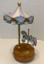 "Hand Painted Porcelain Willitts Cat Music Box 10"" Carousel Free Ship!"