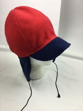 b292bb6bdb900a COLUMBIA S/M Winter Hat Fleece Earflaps Vintage USA Made Red Short Brim  Retro