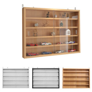 Modern Wall Mounted Display Cabinet Glass Laminated Models Collections Shelf UK