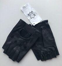 Harssidanzar fingerless gloves MENS black goatskin leather US size XL NEW