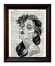 Day of the Dead Girl With Tattoos - Dictionary Art Print Printed On Authentic
