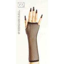 33cm Long Black Fingerless Fishnet Gloves - Secretary Witch Fancy Dress