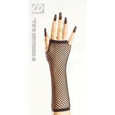 33cm Long Black Fingerless Fishnet Gloves - Secretary Witch Fancy Dress