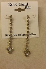 "24kt Overlay faux diamond 2"" long strand earrings Nickel Free Bride Black Tie"