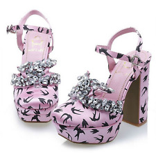 pink satin crystal embellished swallow print mary jane shoes uk5/38