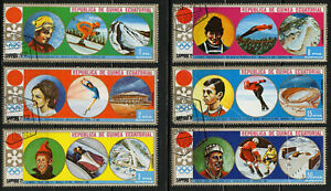 Equatorial Guinea 1972 Winter Olympic Sapporo Creases Partial Set of 6 Used CTO