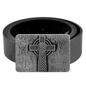 Vintage Men Black Leather Belts Jeans Belt Gothic Cross Square Metal Belt Buckle