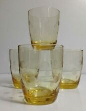 "Set of 4 Artland Polka Dot Citrine Yellow Double Old Fashioned ""Rocks"" Glasses"
