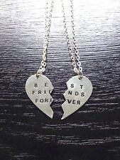 Break Heart 2-Piece Silver Best Friend Forever Friendship Pendant Necklace