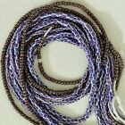 African Waist Beads Belly Jewelry, 3 40-inch Strands, Ghana, blue purple gray