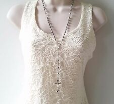 """Gorgeous 28"""" long silver tone decade rosary bead necklace  * NEW *"""