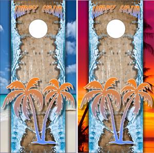 Happy Hour Beach Spil Sunset LAMINATED Cornhole Wrap Bag Toss Skin Decal Sticker