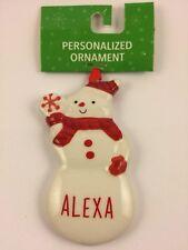 Ganz ALEXA Personalized Snowman Name Christmas Ornament Ceramic Red & White NWT