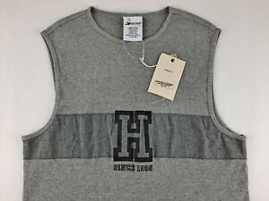 NEW Vintage Tommy Hilfiger Round 1 Men L Grey Muscle Shirt Sleeveless Tank X2