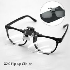 Clip On Flip Up 2x Magnifying Reading Glasses Spectacles Magnifier Loupe Lenses