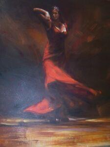 Flamenco Tango dancer 20x20 inch painting Salsa, Spain, art, decor, decoration