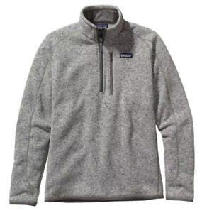 New Patagonia Mens Large Better Sweater Fleece 1/4 Zip Jacket Pullover Gray NWT