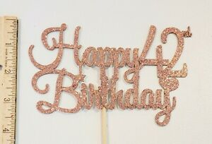 Rose Gold Glitter Happy 42nd Birthday Cake Topper - Cake Topper Party Supply