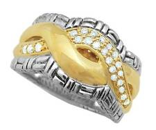 Philip Andre 18k Gold & SS 1/3ct TW Pave set Infinity Diamond Ring Size 7.5