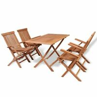 vidaXL 5x Solid Teak Wood Folding Outdoor Dining Set Arm Chairs Garden Tables