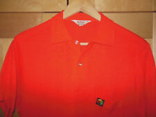 Vintage 60's Men's Mid Century Mod Brite Bright Red Acrylic Knit Polo Shirt M