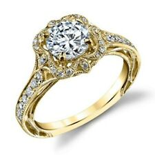 Over Engagement Ring 925 Sterling Silver 1.35 Ct Round Diamond 14K Yellow Gold