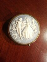 VINTAGE ANTIQUE VICTORIAN CAMEO DANCING COUPLE TRINKET PILL BOX COMPACT NICE!