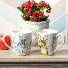 Set of 4 Country Bunny Rabbit 13oz Mugs off White Fine Porcelain Tea Coffee Cups