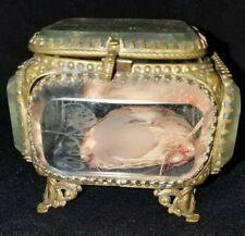 Antique Beveled Etched Glass Casket/Trinket Box 3 x 2 1/2