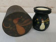 "Lang Candles Primitives Melting Pot 2PC Snowman & Hat ""Weathered Friends"""