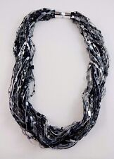 Black White Confetti Scarf Necklace Magnetic Closure Shimmer Basic Colors