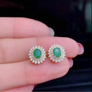 5Ct Oval Cut Green Emerald & Diamond Halo Stud Earrings 14K Yellow Gold Finish