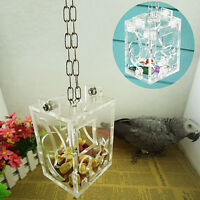 1xClear Birds Foraging Toys Funny Parrot Cage Food Snack Pet Feeding Acrylic Box