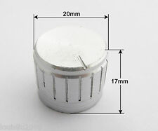 5pcs 20x17mm Silver Circular Knob Aluminium Cover for Audio Volume Tone Control