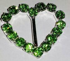 SALE! 50 Silver Grade A Green Rhinestone Crystal Heart Slider Buckles 10mm Bar