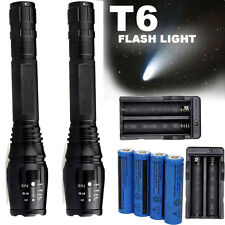 2 Sets 10000 Lumens 5 Modes CREEE XML T6 LED Flashlight 18650 Battery+Charger US