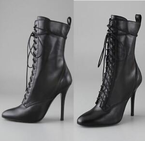 Women Shoes Pointed Toe High Heel Ankle Boots Lace Up Booties Autumn Winter Wear