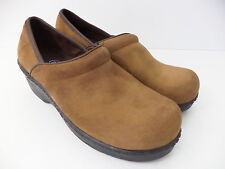 DR SCHOLL'S SCHOLLS BROWN NUBUCK LEATHER CLOSED HEEL CLOG SHOE SZ 6M