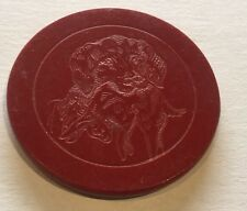 Vintage Red Dog With Bunny In Mouth Clay Poker Chip