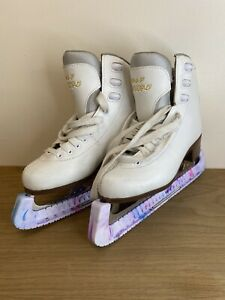 Graf Bolero White Ice Figure Skates. Size 36 / Uk 3.5 With Pink Blade Guards.