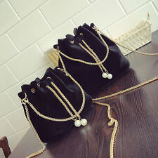 Women Chain Pearl Handbag Tote Velvet Bucket Purse Shoulder Crossbody Bucket Bag