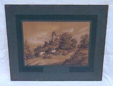 Jean-Alexandre CORABOEUF  Ruines Chateau Clisson Mine de Plomb Sepia 1881