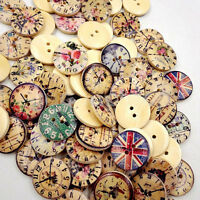 EE_ 50 Pcs Vintage Wooden Buttons Round 2-Holes Sewing Scrapbooking DIY 20mm Blu