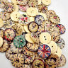50 Pcs Vintage Wooden Buttons Round 2-Holes Sewing Scrapbooking DIY 20mm Bluelan
