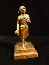 VINTAGE SIGNED MARJORIE DANGERFIELD SOLID COPPER GIRL SCOUT FIGURINE CIRCA 1953