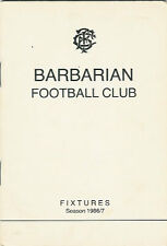1986/7 Barbarians Rugby Member'sCard / Fixture List