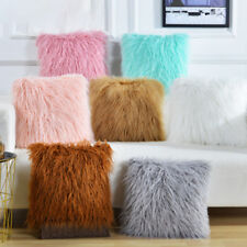 "17"" Plush Faux Fur Sofa Chair Bed Waist Home Car Decor Pillow Case Cushion Cover"