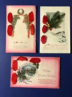 Christmas 3 Antique Novelty Postcards Ribbon and Glitter. Collector Items. Nice