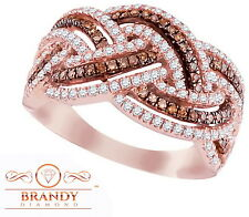 10K Rose Brandy Diamond®  Diamond Chocolate Brown Pretty Braided Ring