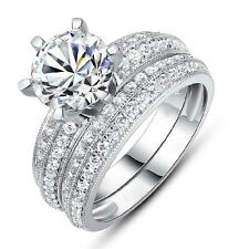 Band Size 8 Women 2 Pcs 18K Gold Filled White Topaz Engagement Luxury Ring Sets